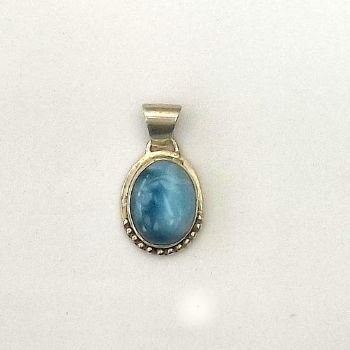 Gorgeous Oval Larimar Pendant with decoration